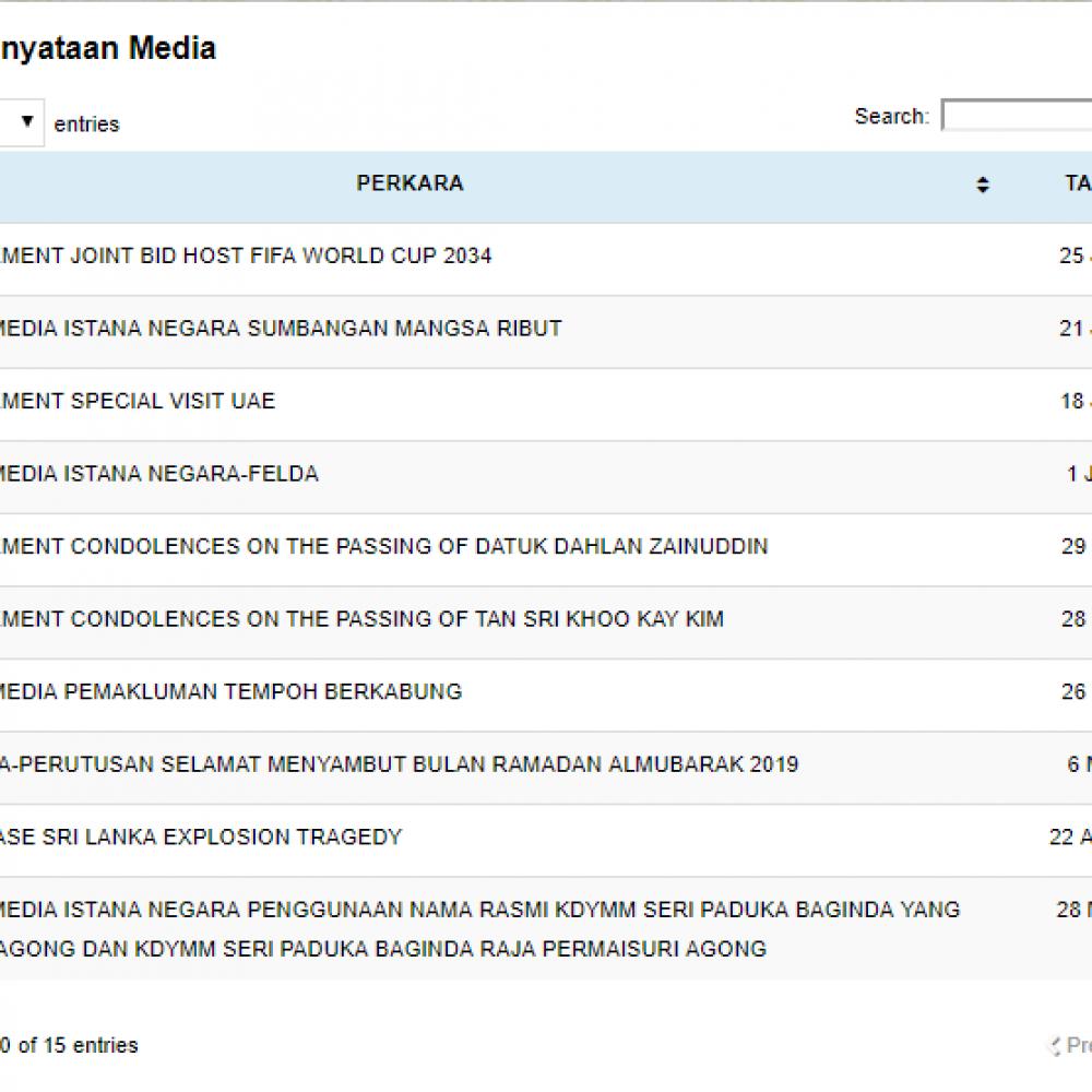 Senarai Kenyataan Media