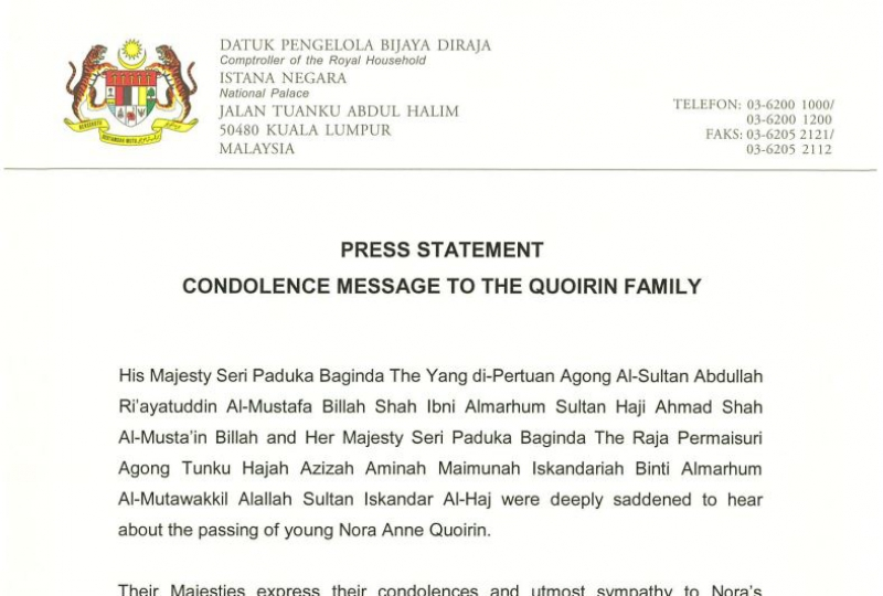 PRESS STATEMENT CONDOLENCE MESSAGE TO THE QUOIRIN FAMILY